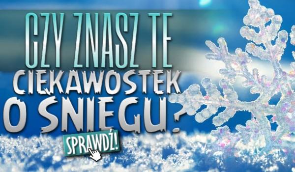 Czy znasz te 10 ciekawostek o śniegu?
