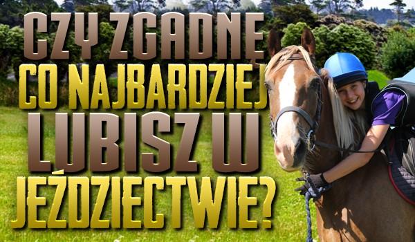 Czy zgadnę, co najbardziej lubisz w jeździectwie?