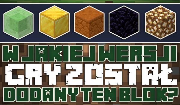 Minecraft: W jakiej wersji gry dodano ten blok?