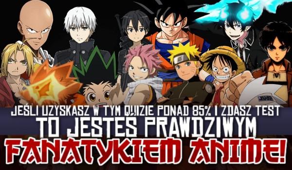 Jeśli uzyskasz w tym quizie ponad 85% i zdasz ten test, to jesteś prawdziwym fanatykiem anime!
