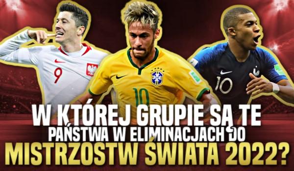 W której grupie są te państwa w eliminacjach do Mistrzostw Świata 2022?